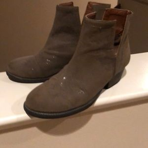 Taupe booties. Cute with jeans and skirts